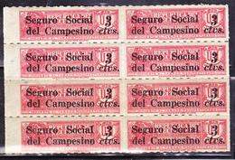 ECUADOR 1936 TOBACCO TAX SURCHARGED IN BLACK SOCIAL & RURAL WORKERS INSURANCE PRO TRAIN RAILWAY BLOCK X 8 MNH SC# RA32 - Trains