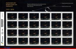 Ref. BR-V2019-07-F BRAZIL 2019 SCIENCE, SOLAR ECLIPSE IN SOBRAL,, ALBERT EINSTEIN, RELATIVITY, SHEET MNH 24V - Unused Stamps