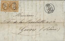 1863- Lettre De BONE / ALGERIE  Affr. Paire N°21 Oblit. G C 5015 - Marcophilie (Lettres)