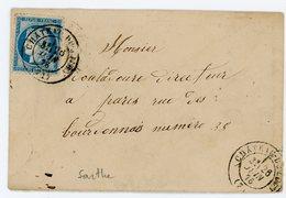 SARTHE ENV MIGNONNETTE 1876 CHATEAU DU LOIR T17 SUR CERES FIN DU GC - Poststempel (Briefe)