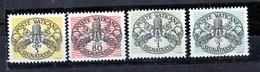 1946 Vaticano Vatican SEGNATASSE  POSTAGE DUE 5c, 80c, 1L 2L Righe Larghe Carta Bianca MNH** Firma Gino Biondi - Postage Due