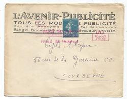 SEMEUSE 25C LETTRE + MEA A 0.0003 50C LETTRE ENTETE AVENIR PUBLICITE PARIS 22 1927 - Marcophilie (Lettres)