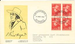 Denmark FDC 11-11-1955 Sören Kirkegaard In Block Of 4 With Cachet - FDC
