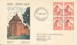 Denmark FDC 16-9-1954 Denmark Kingdom For 1000 Years In Block Of 4 With Cachet - FDC