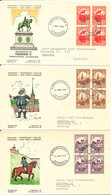 Denmark FDC 1955 Issue Denmark Kingdom For 1000 Years In Block Of 4 On 3 Covers With Cachet - FDC