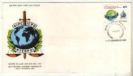India  1997  INTERPOL  International Police  Varanasi  FDC # 19011   D  Inde Indien - Police - Gendarmerie