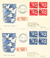 Denmark Registered FDC 30-10-1956 Nordic Co-operation Complete Set Of 2 In Block Of 4 On 2 Covers With Cachet - FDC