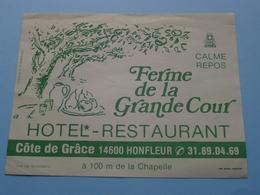 FERME De La GRANDE COUR Hotel à HONFLEUR (format +/- 11 X 14,5 Cm.) > ( Imp. Marie Honfleur ) > Detail Zie/voir Photo ! - Etiquettes D'hotels