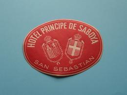 Hotel PRINCIPE De SABOYA > SAN SEBASTIAN (format +/- 10 X 7,5 Cm.) > ( Imp......) > Detail Zie/voir Photo ! - Etiquettes D'hotels