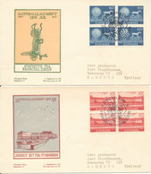 Denmark FDC15-5-1957 Denmarks National Museum 150th Anniversary In Block Of 4 Complete On 2 Covers With Cachet - FDC