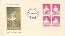 Denmark FDC 16-5-1959 Ballet Festival In Block Of 4 With Cachet - FDC