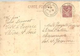 CARTE POSTALE  1941 ISSY L'EVEQUE - Enteros Postales