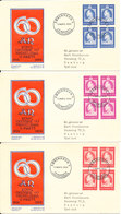 Denmark FDC 11-3-1959 King Frederik 60 Year In Block Of 4 Complete Set Of 3 On 3 Covers With Cachet - FDC