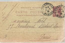 CARTE POSTALE  1922  CHERBURG - Enteros Postales