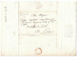 France An 6 / 1797 Paris Régiment Chasseurs à Cheval Pour Le Père De Victor Hugo (s100) - Storia Postale