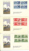 Denmark FDC 28-4-1960 Complete Set Of 3 Agriculture Motives In Block Of 4 Complete Set Of 3 On 3 Covers With Cachet - FDC