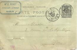 CARTE POSTALE  1898  GIEN - Enteros Postales