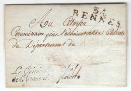 France An 7 / August 1799 'Le Général En Chef De L'Armée D'Angleterre' & '34 RENNES' General Michaud (s101) - Sellos De La Armada (antes De 1900)