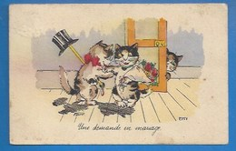 ILLUSTRATEUR : BOURET - HUMOUR - CHATS - UNE DEMANDE EN MARIAGE - 1937 - Bouret, Germaine