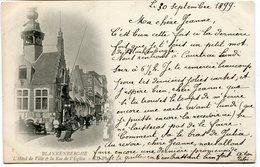 CPA - Carte Postale - Belgique - Blankenberghe - L'Hôtel De Ville Et Rue De L'Eglise - 1899 (B9140) - Blankenberge