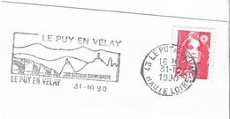 FRANCE. FRAGMENT POSTMARK LE PUY EN VELAY 1990. BRIDGE. FLAMME - Marcofilia (sobres)