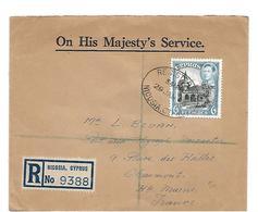 Zyp006 / ZYPERN - 6 Piaster-Marke Auf Einschreiben Nicosia 29.1.46 Nach Frankreich. Wachssiegel Postmaster General - Zypern (...-1960)