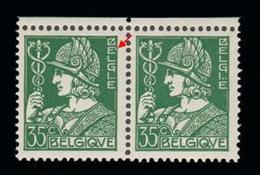 COB N° 340a - 35 Cm Vert Foncé - Variété 2 (1er E De BELGIQUE Allongé) - Variétés Et Curiosités