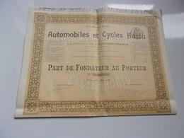 AUTOMOBILES ET CYCLES HURTU (fondateur) 1899 - Aandelen