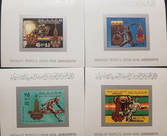 O) 1979 LIBYA - NORTH AFRICA, IMPERFORATED, OLYMPIC RINGS MOSCOW . EQUESTRIAN - JAVELIN - SOCCER - HURDLES, PRE OLYMPICS - Libya