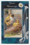 Easter Greetings - Chicks In Clog - Edwardian Embossed Card - Easter