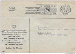 76 - 14 - Enveloppe De L'office De Guerre Pour L'industrie Et Le Travail - Oblit Mécanique Bern 1941 - Postmark Collection