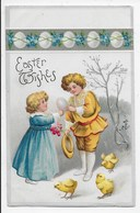 Edwardian Embossed  Easter Card - Children And Chicks - Boxmoor Squared Circle Pmk - Easter