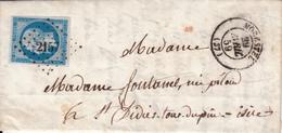 MARQUE POSTALE LAC 37 MORESTEL 29 AVRIL 1859  PC 2157S/N°14 - Marcofilia (sobres)