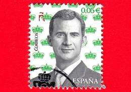 SPAGNA - Usato - 2017 - Ritratto Di Re Felipe VI Su Sfondo Di Corone Reali In Miniatura In Verde - 0.05 - 2011-... Usati