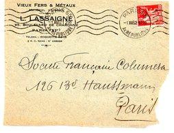 PARIS 65 AV DE LA REPUBLIQUE 1932 =  Flamme Muette = KRAG ' 5 Lignes Ondulées ' + Perforé LASSAIGNE - Marcophilie (Lettres)