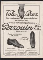 Pub Papier 1926  Chaussures PERROUIN Freres De Nantes Pied Chaussure Pivolo - Advertising