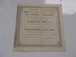 LE JOURNAL D'ALENCON Baron De Mackau (1879) - Azioni & Titoli
