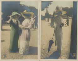 Très Belle Femme Real Photo Hand Colored  2 Cartes Croissant Aux Courses Hippiques Dentelle - Femmes