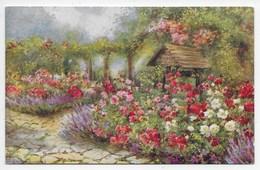 John Macpherson - Garden Scene - Tuck Oilette 3590 - Flowers, Plants & Trees