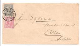 Hangend Haar 10 Cent NVPH 37 Bijfrankering Envelop 24.3.96>Cöthen - 1891-1948 (Wilhelmine)