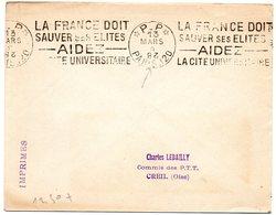 PARIS 120  1928 (année Inversé) = FLAMME PP KRAG ' LA FRANCE DOIT SAUVER SES ELITES ' - Marcophilie (Lettres)