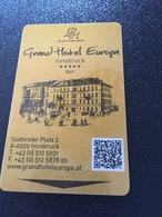 Hotelkarte Room Key Keycard Clef De Hotel Tarjeta Hotel GRAND HOTEL EUROPA  INNSBRUCK - Telefonkarten