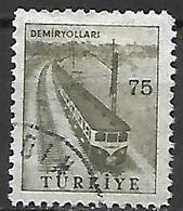 TURQUIE     -     1959 .   Y&T N° 1437A Oblitéré .  Train - 1921-... República