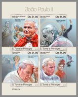 SAO TOME 2019 MNH Mother Teresa Pope John Paul II. M/S - IMPERFORATED - DH1925 - Mère Teresa