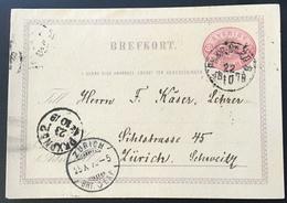 "Sweden ""PKXP 20 B 1878"" > SCHWEIZ,  RARE EARLY 10 øre Postal Stationery Card (cover Brief UPU Schweden TPO Railroad - Schweden"