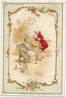 """CHROMO  """" AU  BON  MARCHÉ """"  /  Couple  Amoureux  éventail  /  J. Minot  édit. - Au Bon Marché"""