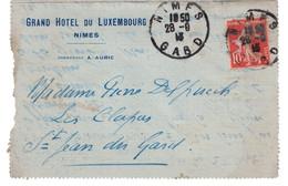 """1913 - LETTRE ENTETE """"GRAND HOTEL DU LUXEMBOURG """" A. AURIC NIMES GARD (VOIR DOS) SEMEUSE 10c Pr ST JEAN DU GARD - Marcofilia (sobres)"""