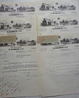 FACTUREx6 Factuur BROUWERIJ Brasserie LAMOT MECHELEN Des Verreries Michotte Manage Verre De Bière Glas Bier - 1950 - ...