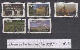 La France En Timbres (2006) Autoadhésifs Y/T N° 329/332 + 335 Oblitérés Issus Du Carnet BC329 - France