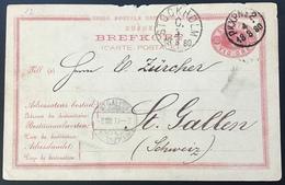 """Sweden """"PKXP 2 1880"""" > SCHWEIZ,  10 øre Postal Stationery Card (cover Brief UPU Schweden TPO Railroad - Schweden"""